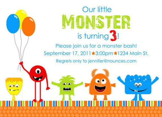 Little Monster Birthday Invitation With or Without Photo