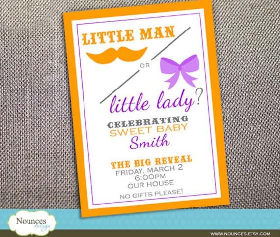 Gender Reveal Invitation - Little Man or Little Lady