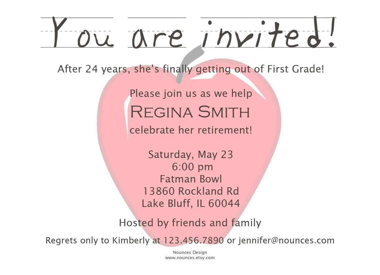 Teacher Retirement Party Invitation by nounces on Etsy