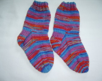 Hand Knit Children's Socks Size 8 Colorful Made in Maine
