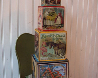 Wooden Nesting Boxes Decorated with Vintage Children's Book Images