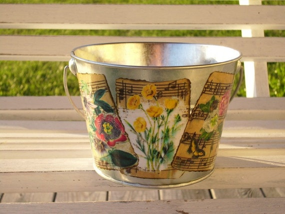 Small Silver Sheet Music and Flowers Decoupaged Metal Bucket
