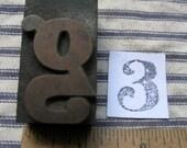 ONE Antique Letterpress wooden Print Block lowercase g