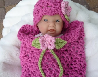 Instant Download PDF Flower Girl Crochet Pattern Quick and Easy Newborn Cocoon and Hat