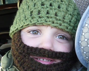 Instant Download Digital PATTERN Crochet Pattern Beard Hat for Child Three Sizes