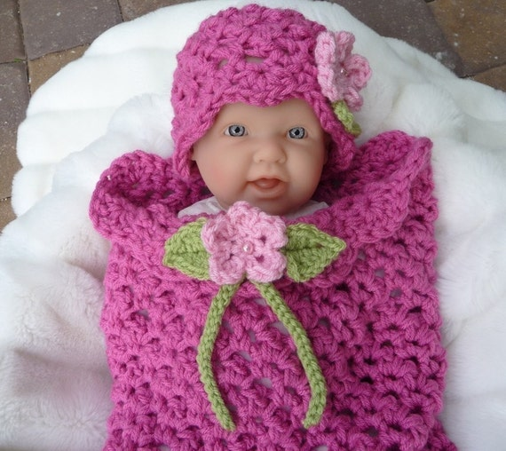 Flower Girl Crochet Pattern Quick and Easy Newborn Cocoon and Hat Instant Download