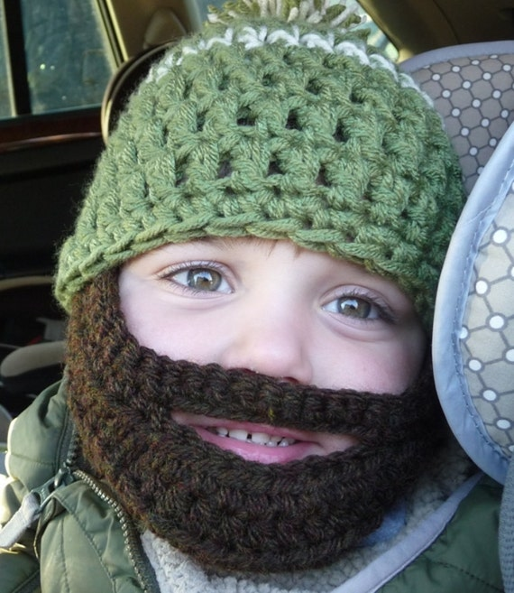 Instant Download Digital File PATTERN Crochet Pattern Beard Hat for Child Three Sizes