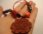 Royal Red Floral Wood Pendant Necklace