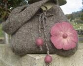 Felted flower purse - Brown tweed and pink felted flower handbag