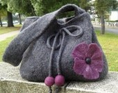 Felted flower handbag - Gray and plum purple felted flower purse