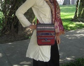 Cross body bag - Red and purple striped cotton purse