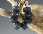 Slate Blue - 8 Lampwork Spacer Beads with Fine Silver