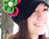 Black Crochet  or Knit Newsboy Hat  Beanie Cap Winter with Fushia and Lime Green Flowers---Newborn--4T
