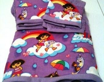 Purple Dora the Explorer Towel Set