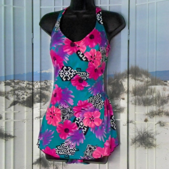 Vintage Pinup Gal Swimsuit with built in Wrap Skirt Tropical Print in Aqua & Hot Pink Aztec Designs Deep Scoop Back