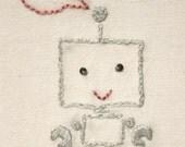 Embroidered Valentine Card - Robot Love (Boy)