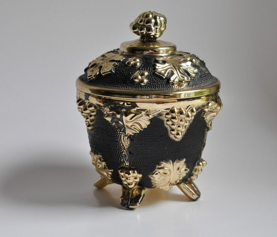 Vintage-Jeanette-Stippled-Black-Gold-Glass RESERVED FOR Cheryl