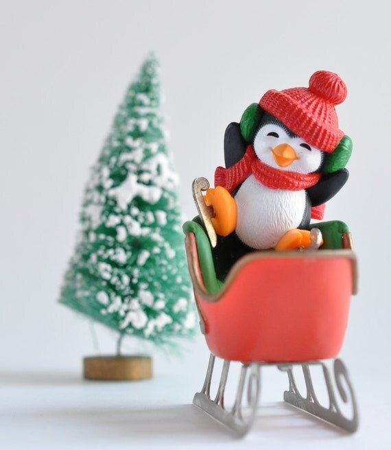2 Vintage-USA-Ornaments-Hallmark Christmas- Penguin-Santa Sled