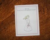 Bridesmaid, Maid of Honor, Flower Girl Card-Custom Colors Available