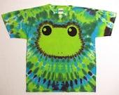 Tie Dye Tshirt, Spring Green Tree Frog Tie Dye Shirt, Youth XL