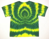 Yellow and Green tie dye shirt youth Small