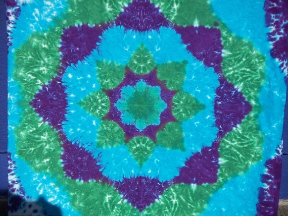 Turquoise Tie Dye Mandala Tapestry Sarong Or Scarf Ready To