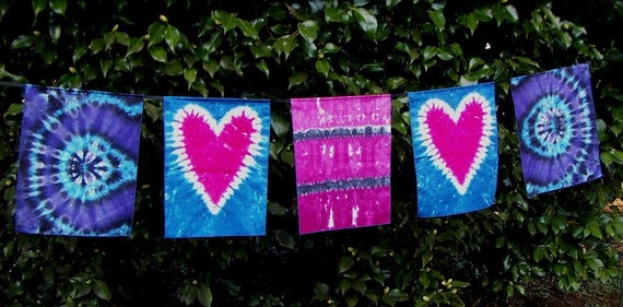 Tie Dye Love Flags, With Two Hearts, Tie Dye Dream Flags (Ready to Ship)