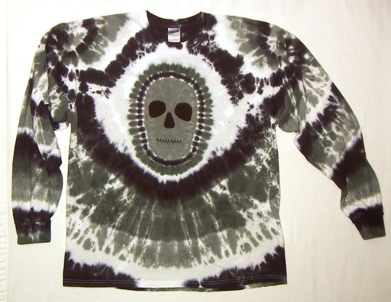 Black and White Zombie Skull Tie Dye T-Shirt, Size XL,  Long Sleeve