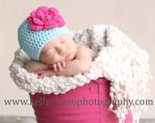 3-6 months Large Flower Hat in Aqua with Hot Pink flower THE BRIGHT COLLECTION
