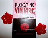 Pair of Red Lucite Cherry Blossom Flowers Asian 1960s Vintage Style hair clip bobby pins