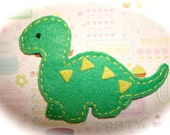 Ben Brontosaurus Dinosaur - The Cute Factor - Retro Bright Kelly Green dinosaur felt friend hair clip