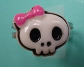Retro Kawaii Lolita Bow Skull Silver Adjustable Ring