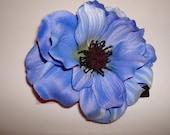 Cornflower Blue Anemone Silk Flower 1940s Vintage Style Hair Clip