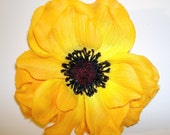 Yellow Anemone flower hair clip 1940s Vintage Dance Style