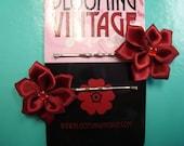 Merlot Poinsettia satin ribbon flower silver hair pins