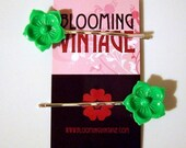 Pair of Mint Green Lucite Cherry Blossom Flowers Asian 1960s Vintage Style hair clip bobby pins