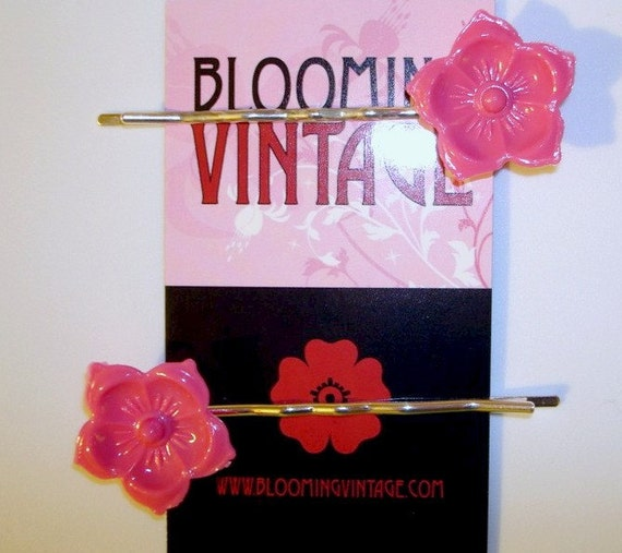 Pair of Hot Lipstick Pink Lucite Cherry Blossom Flowers Asian 1960s Vintage Style hair clip bobby pins