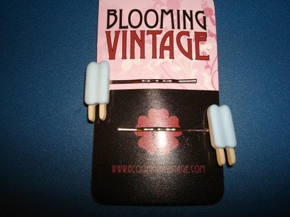 Pair of 1950s Vintage Retro Kitsch style Blue Raspberry Vanilla Popsicles Hair Pins