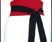 Obi Belt - Red and Black Reversible Corset Waist Cincher Any Size