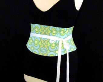 Amy Butler Green and Blue Cotton Waist Cincher Corset Belt B