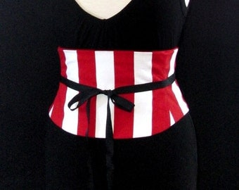 Red Stripe Corset Waist Cincher Belt - Any Size Giant Red and White Striped