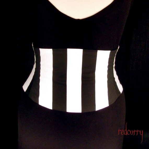 Pirate Corset Waist Cincher Belt - Any Size Giant Black and White Striped Custom