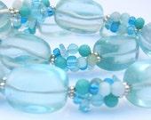 Aqua Glass and Beaded Sea Necklace