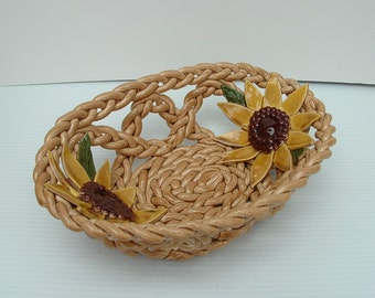 Beige Pottery Bowl- fruit bowl- bread warmer- pottery basket- home decor-sunflower decor