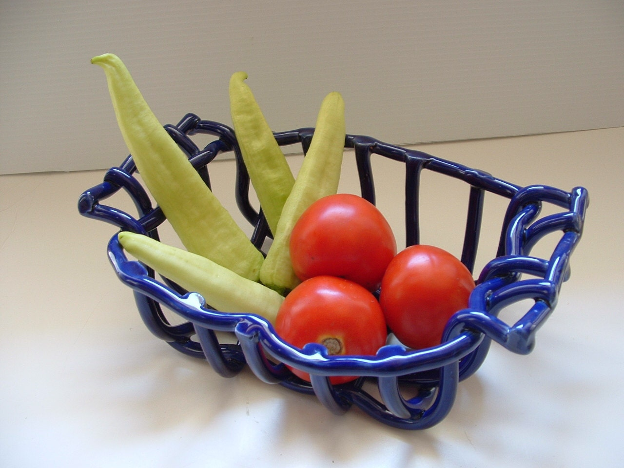Cobalt Blue Pottery Basket With Handles Centerpiece Fruit Bowl