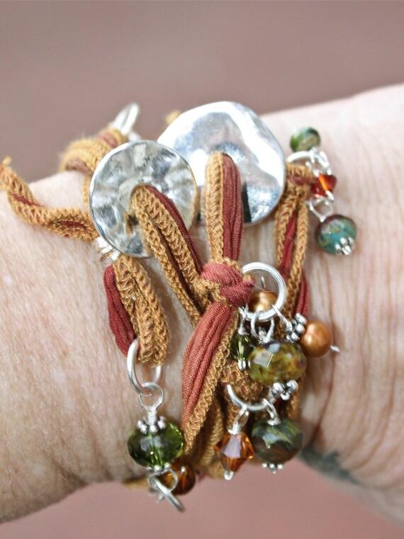 Rustic Earthen Rainbow Beaded Silk Wrist Wrap Cuff Bracelet