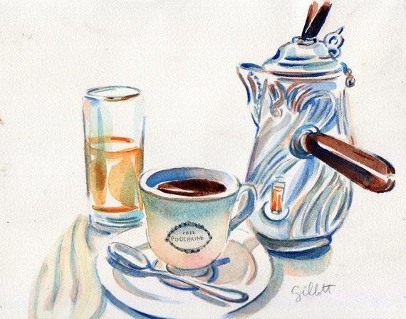 Cafe Pouchkine petit dejeuner original watercolor