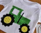 Green Farm Tractor Short Sleeve One-Piece Bodysuit or T-Shirt