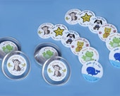 2 Sets of 48 Teacher Stickers with Tin