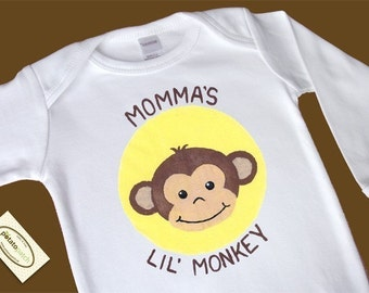 Momma's Lil Monkey Long Sleeve One-Piece Bodysuit or Shirt for Boy or Girl